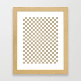 Small Checkered - White and Khaki Brown Framed Art Print