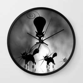 dreaming of mooncats bw -1- Wall Clock