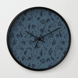 Wild Cosmos, Denim Blue Wall Clock