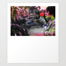The Flower and the Bayonet Dot Pattern Civil Rights Protest Equality Art Print