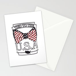 Tied to the USA Fourth of July T-shirt Stationery Cards