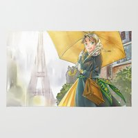 bonjour Area & Throw Rugs featuring bonjour paris! by Moonsia