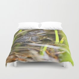 Toad in the pond Duvet Cover