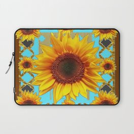 Western Sunflowers Turquoise-Coffee Brown Art Laptop Sleeve