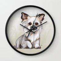 chihuahua Wall Clocks featuring Chihuahua by Kendra Aldrich