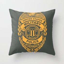 U.S. Military Police Veteran Security Force Badge, Gold Throw Pillow