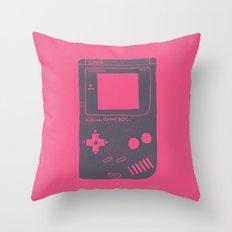 Game Boy on pink Throw Pillow