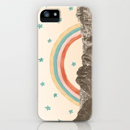 Canyon Desert Rainbow // Sierra Nevada Cactus Mountain Range Whimsical Painted Happy Stars iPhone Case