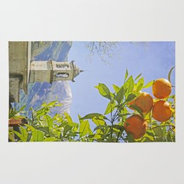 Oranges, Blue Sky, and Mountains in Northern Italy Rug