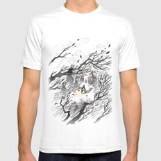 Could It Be The Wind? MEDIUM White Mens Fitted Tee