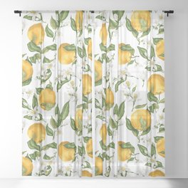 Citrus OrangeTree Branches with Flowers and Fruits Sheer Curtain