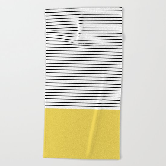 MINIMAL Green Stripes Beach Towel