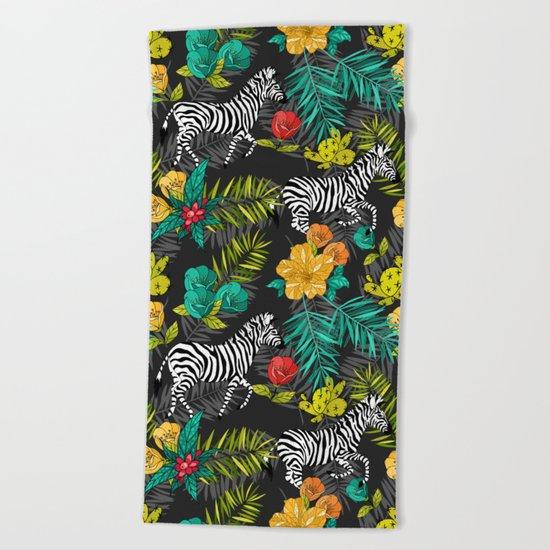 Tropical pattern with zebra Beach Towel