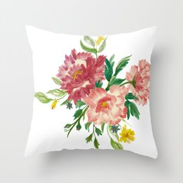 Watercolor of Flower Bouquet Throw Pillow