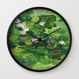 Pink water lilies Wall Clock