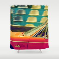 drive Shower Curtains featuring drive by Crockettsky