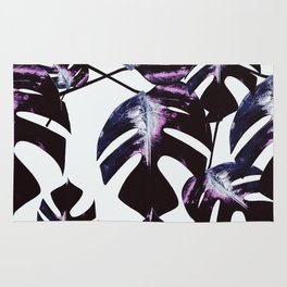 Dark lavender monstera Rug