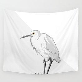Grey Heron Minimalist Wall Tapestry