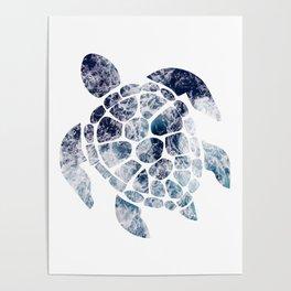 Sea Turtle - Blue Ocean Waves Poster