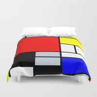 mondrian Duvet Covers featuring Mondrian by Dizzy Moments