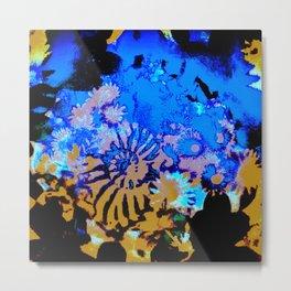 Ammonite Abstract Mustard Metal Print