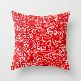 Watercolor Chinoiserie Block Floral Print in Ruby Red Porcelain Tiles Throw Pillow