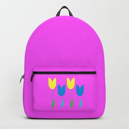 Tulips In Spring Time - Blue & Yellow on Bright Pink 3 Backpack