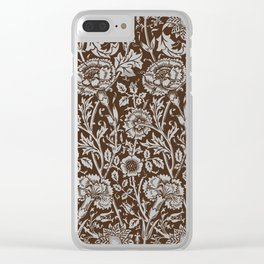 "William Morris Floral Pattern | ""Pink and Rose"" in Brown and White 