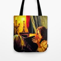 literature Tote Bags featuring Candlelit Literature by DigitalAndPhoto