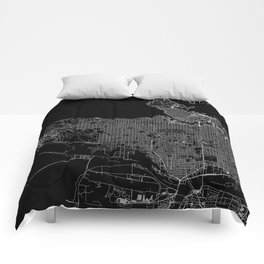 Vancouver Black Map Comforters