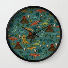 Dinosaurs, Jurassic Art, Volcanos and T-Rex, Dino Print, Dark Blue Wall Clock