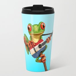 Tree Frog Playing Acoustic Guitar with Flag of The Netherlands Travel Mug