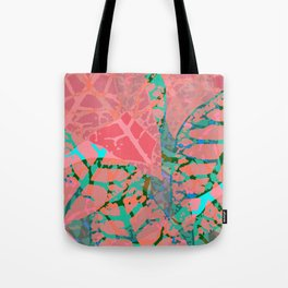 Coral Palm Shadows Tote Bag