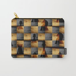 Wooden Chessboard and Chess Pieces  pattern Carry-All Pouch
