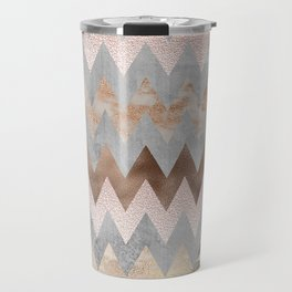 Rose Gold Chevron Glitter Glamour Marble Gem Travel Mug