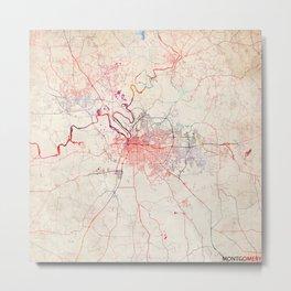 Montgomery map Alabama painting Metal Print