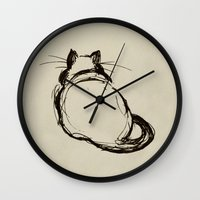 fat Wall Clocks featuring Fat Cat by Julie Viens