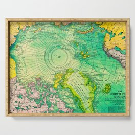 Colorful Map of the North Pole - Vintage Serving Tray