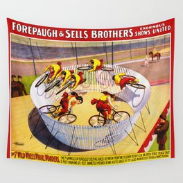 Vintage Bicycle Circus Act Wall Tapestry
