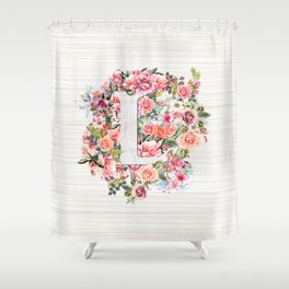 Initial Letter L Watercolor Flower Shower Curtain