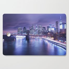 New York City Night Lights : Periwinkle Blue Cutting Board