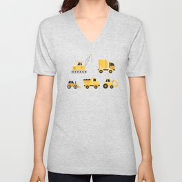 Construction Trucks on Gray Unisex V-Neck