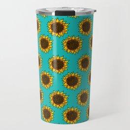 Aqua Sunflowers Travel Mug