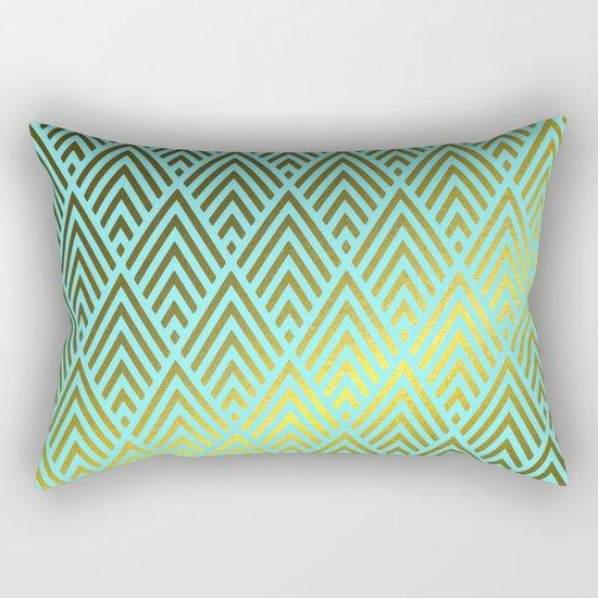 Gold foil triangles on aqua Rectangular Pillow