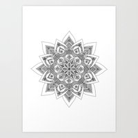 sandra dieckmann Art Prints featuring Sandra Mandala by Frida Glans