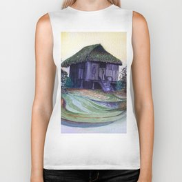 Nipa Hut by Maureen Donovan Biker Tank