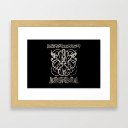 Old norse design - Two Jellinge-style entwined beasts originally carved on a rune stone in Gotland. Framed Art Print