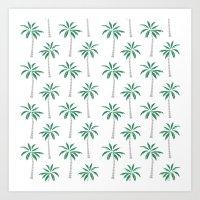 Palm trees tropical minimal ocean seaside socal beach life pattern print Art Print