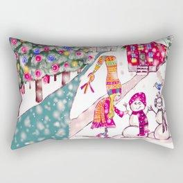 Merry Christmas Snowgirl Rectangular Pillow