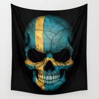 sweden Wall Tapestries featuring Dark Skull with Flag of Sweden by Jeff Bartels